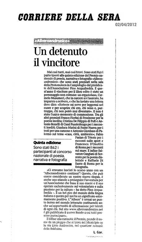 2012, Corriere della Sera