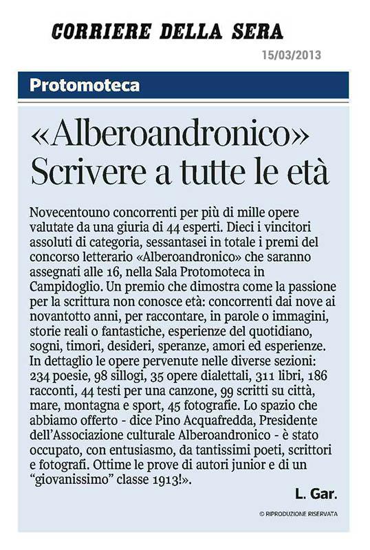 2013, Corriere della Sera